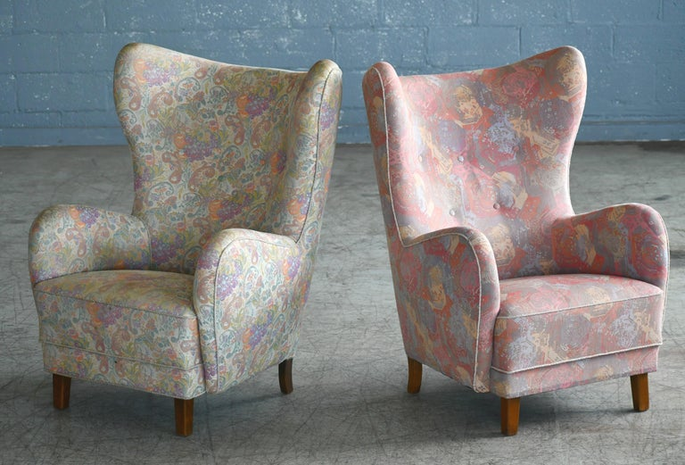 Wool Pair of Flemming Lassen Attributed High Back Lounge Chairs, Denmark, 1940s For Sale