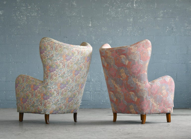 Pair of Flemming Lassen Attributed High Back Lounge Chairs, Denmark, 1940s For Sale 1