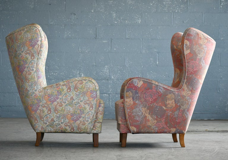 Pair of Flemming Lassen Attributed High Back Lounge Chairs, Denmark, 1940s For Sale 2