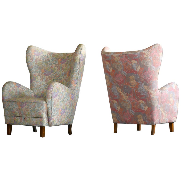 Pair of Flemming Lassen Attributed High Back Lounge Chairs, Denmark, 1940s For Sale