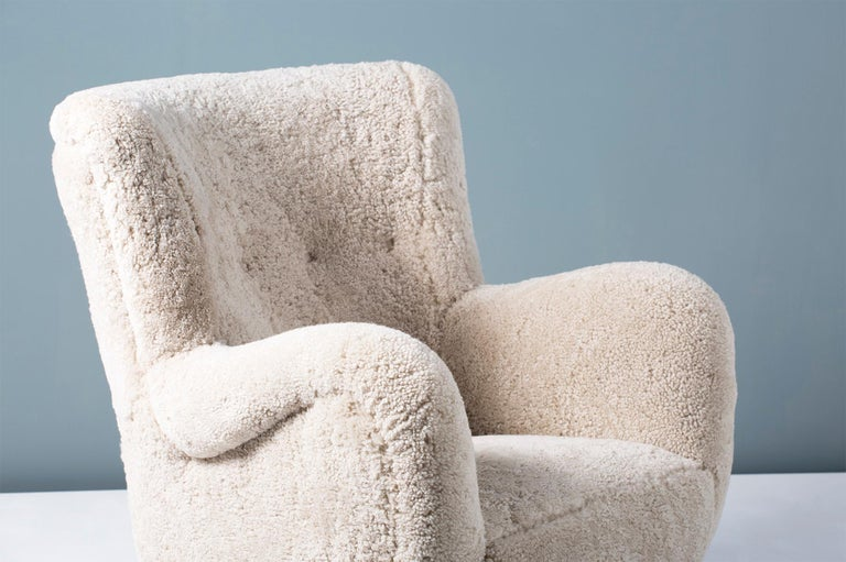 Danish Pair of Flemming Lassen Style 1940s Sheepskin Armchairs For Sale