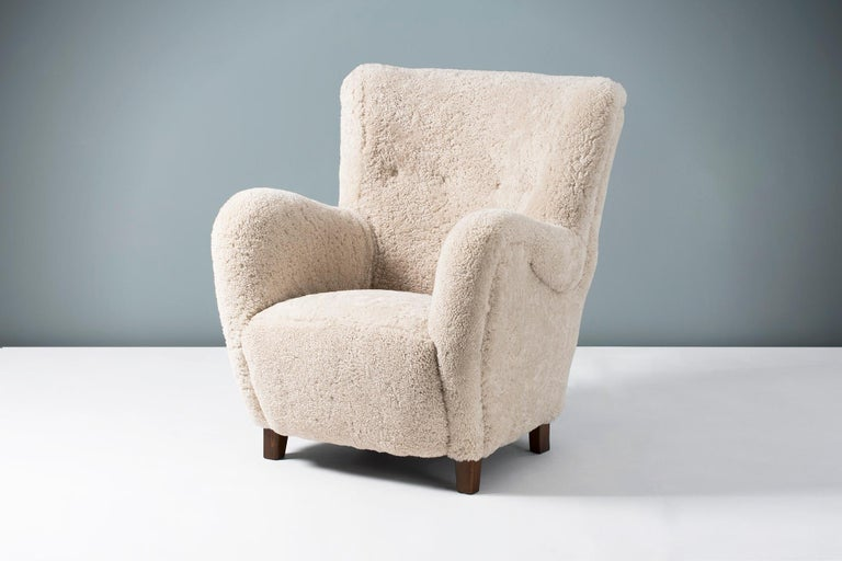 Mid-20th Century Pair of Flemming Lassen Style 1940s Sheepskin Armchairs For Sale