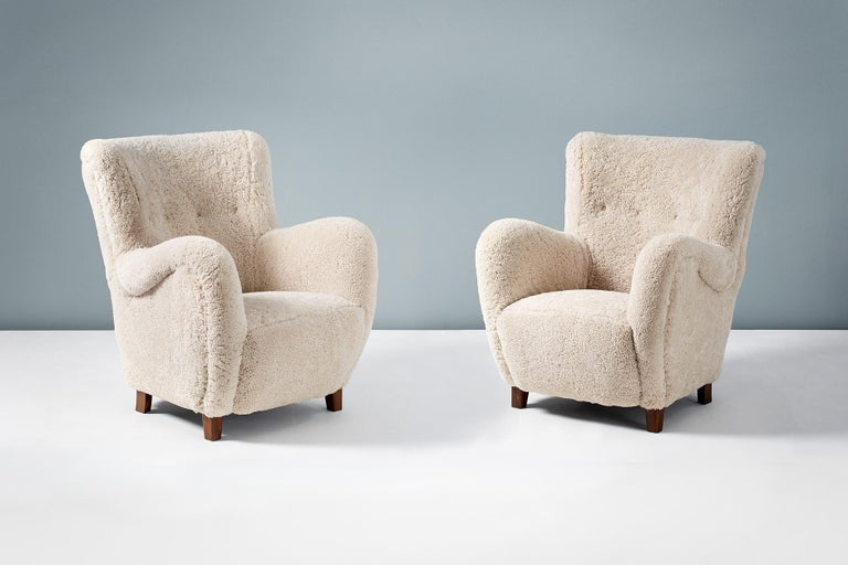 Pair of Flemming Lassen Style 1940s Sheepskin Armchairs For Sale 1