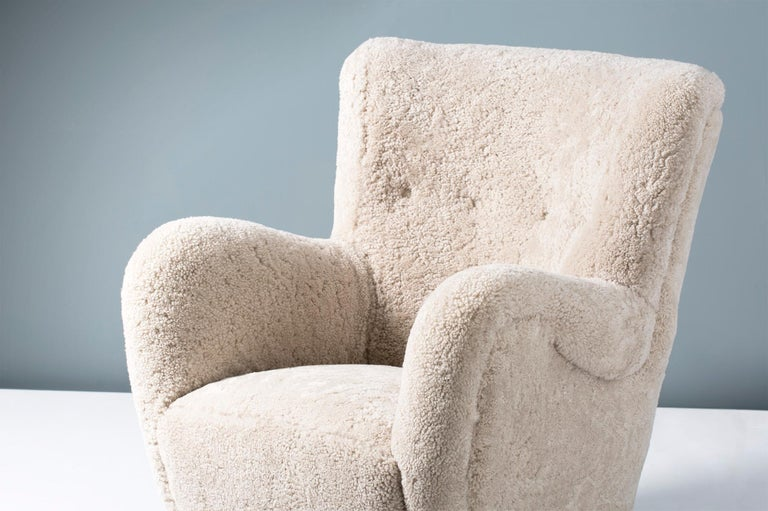 Pair of Flemming Lassen Style 1940s Sheepskin Armchairs For Sale 2