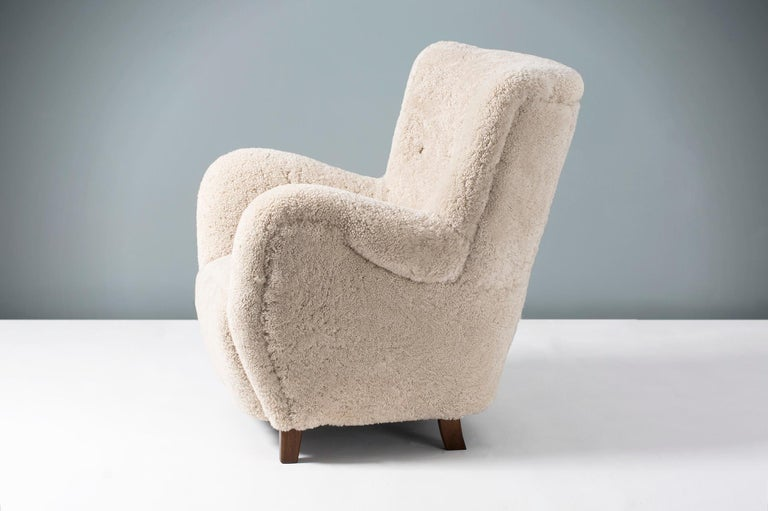 Pair of Flemming Lassen Style 1940s Sheepskin Armchairs For Sale 3