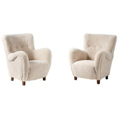 Pair of Flemming Lassen Style 1940s Sheepskin Armchairs
