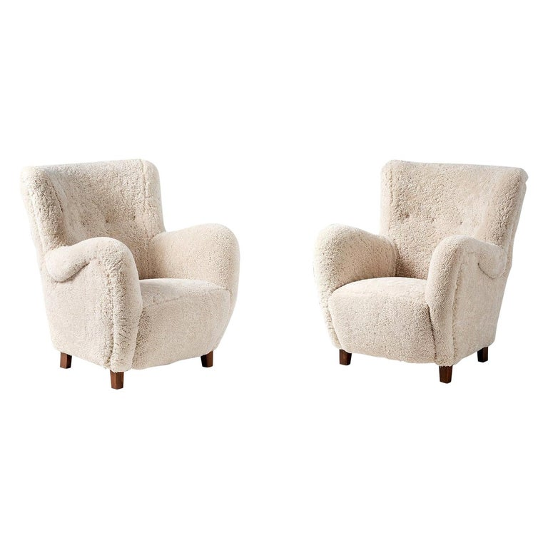 Pair of Flemming Lassen Style 1940s Sheepskin Armchairs For Sale