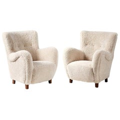 Pair of Flemming Lassen Style 1940s Sheepskin Armchairs