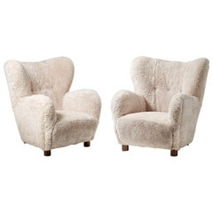Pair of Flemming Lassen Style 1950s Sheepskin Armchairs
