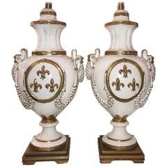 Pair of Fleur-de-Lis Motif Porcelain Table Lamps