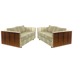 Pair of Floating Milo Baughman Style Cased Rosewood Tuxedo Sofas / Settees