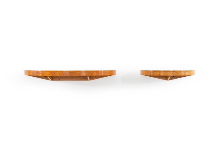 Mid-20th Century Pair of Floating Wall Console Demilunes by Edward Wormley for Dunbar