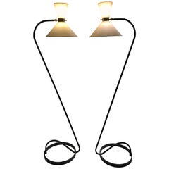 Pair of Floor Lamp by Maison Lunel, 1950
