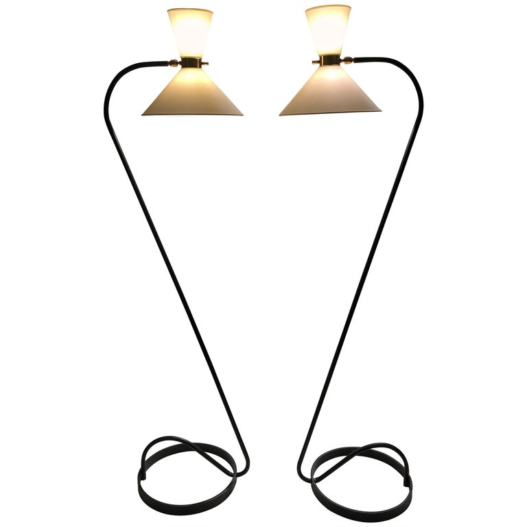 Pair of Floor Lamp by Maison Lunel, 1950 For Sale