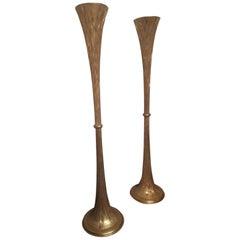 Pair of Floor Lamp, Gold Wood, circa 1960, Italy