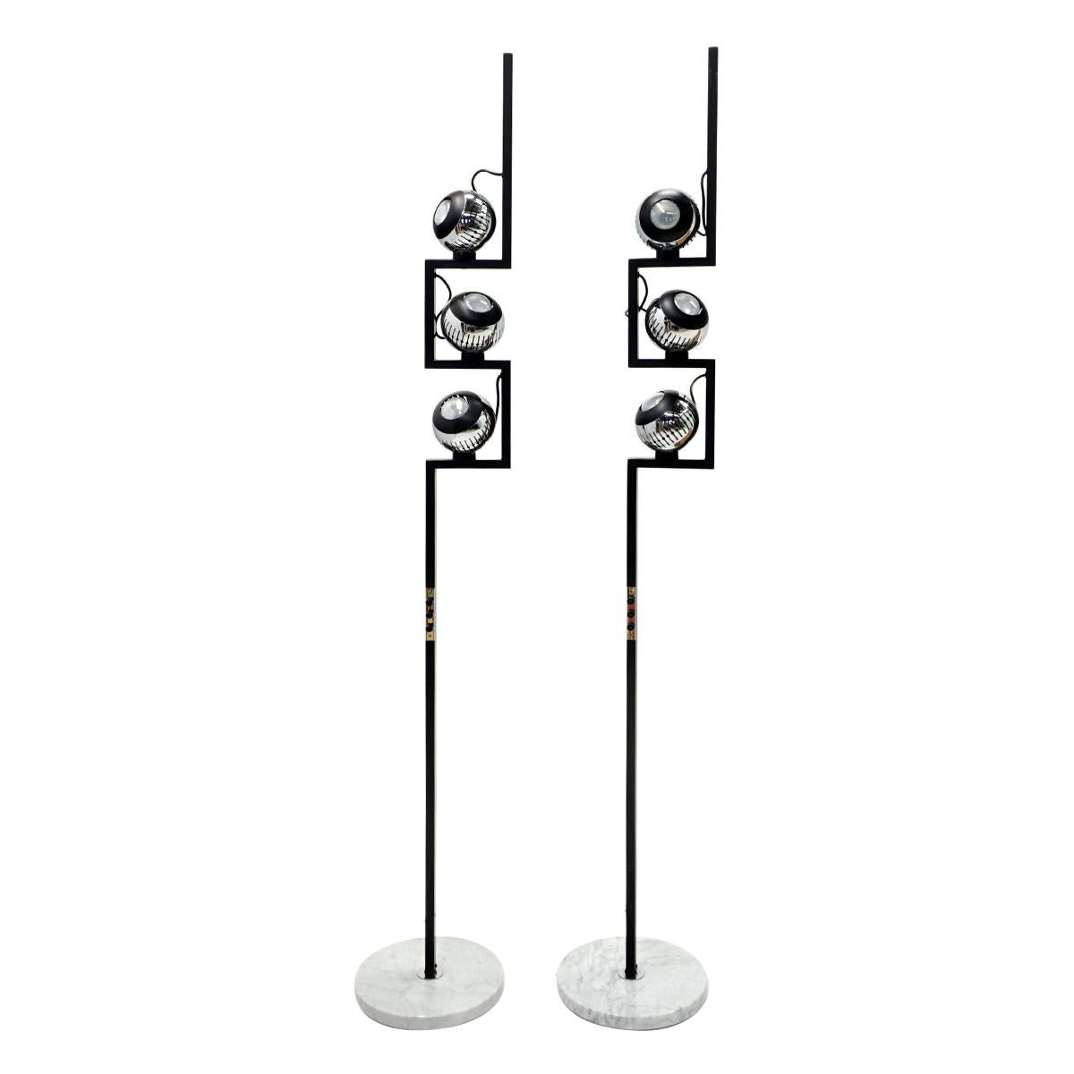 Pair of Floor Lamps by Angelo Lelii for Arredoluce, Chrome, Marble, Articulating