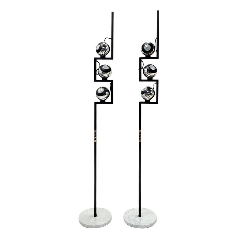 Pair of Floor Lamps by Angelo Lelii for Arredoluce, Chrome, Marble, Articulating For Sale