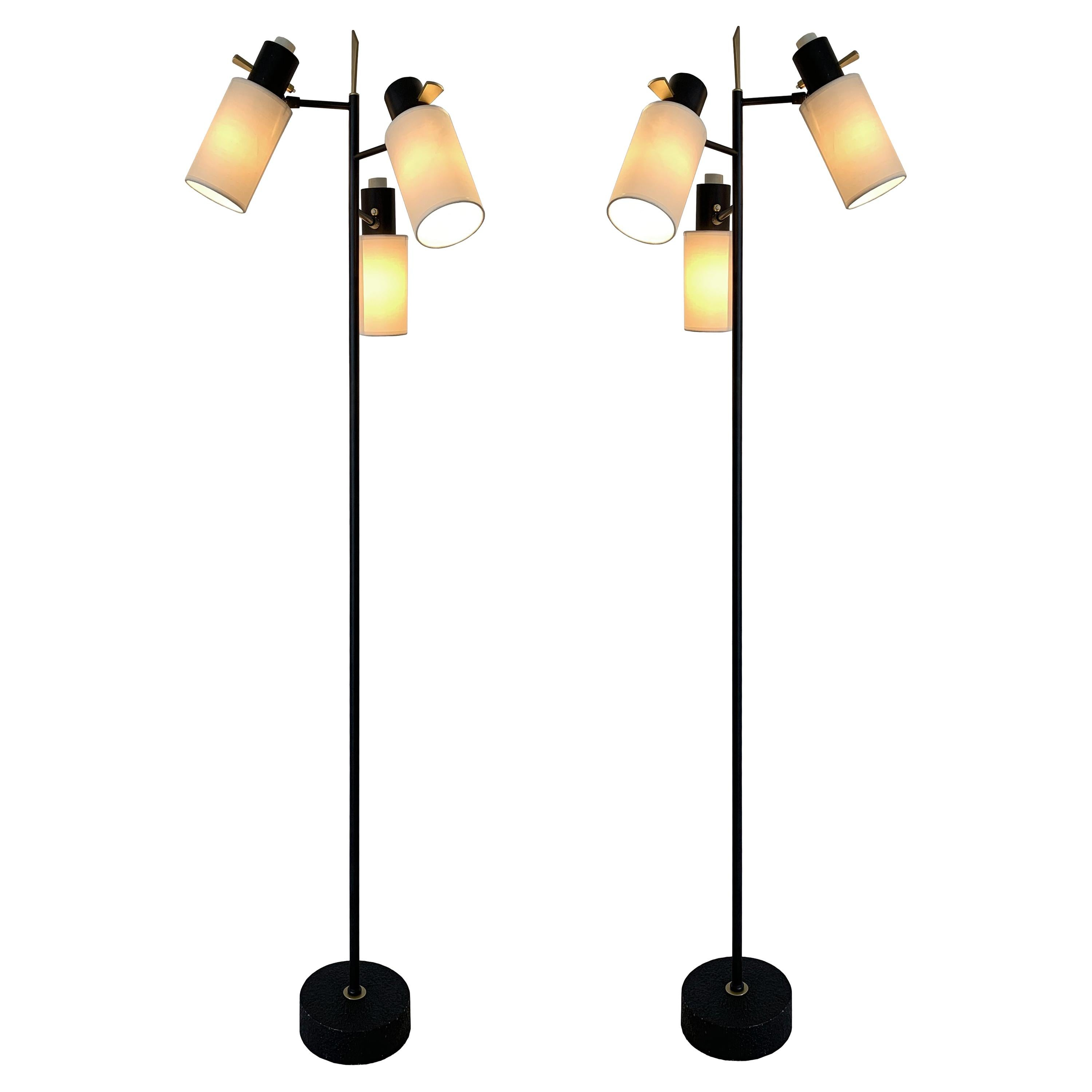 Pair of Floor Lamps by Maison Lunel, 1950