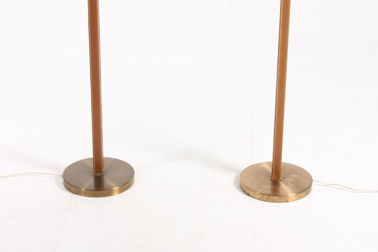 Mid-20th Century Pair of Floor Lamps in Leather For Sale