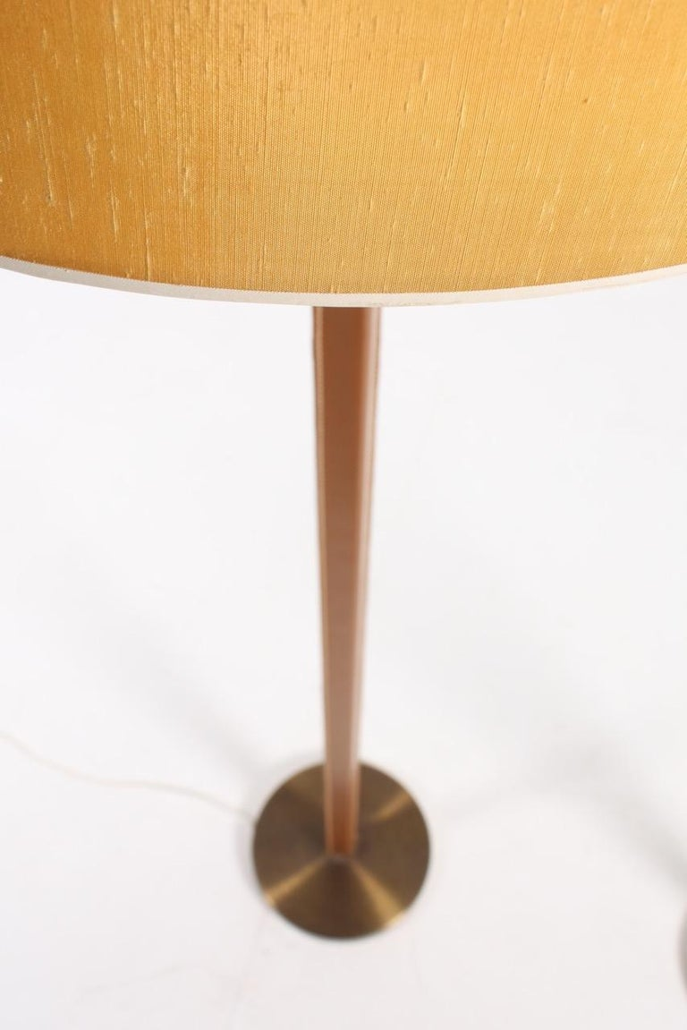Brass Pair of Floor Lamps in Leather For Sale