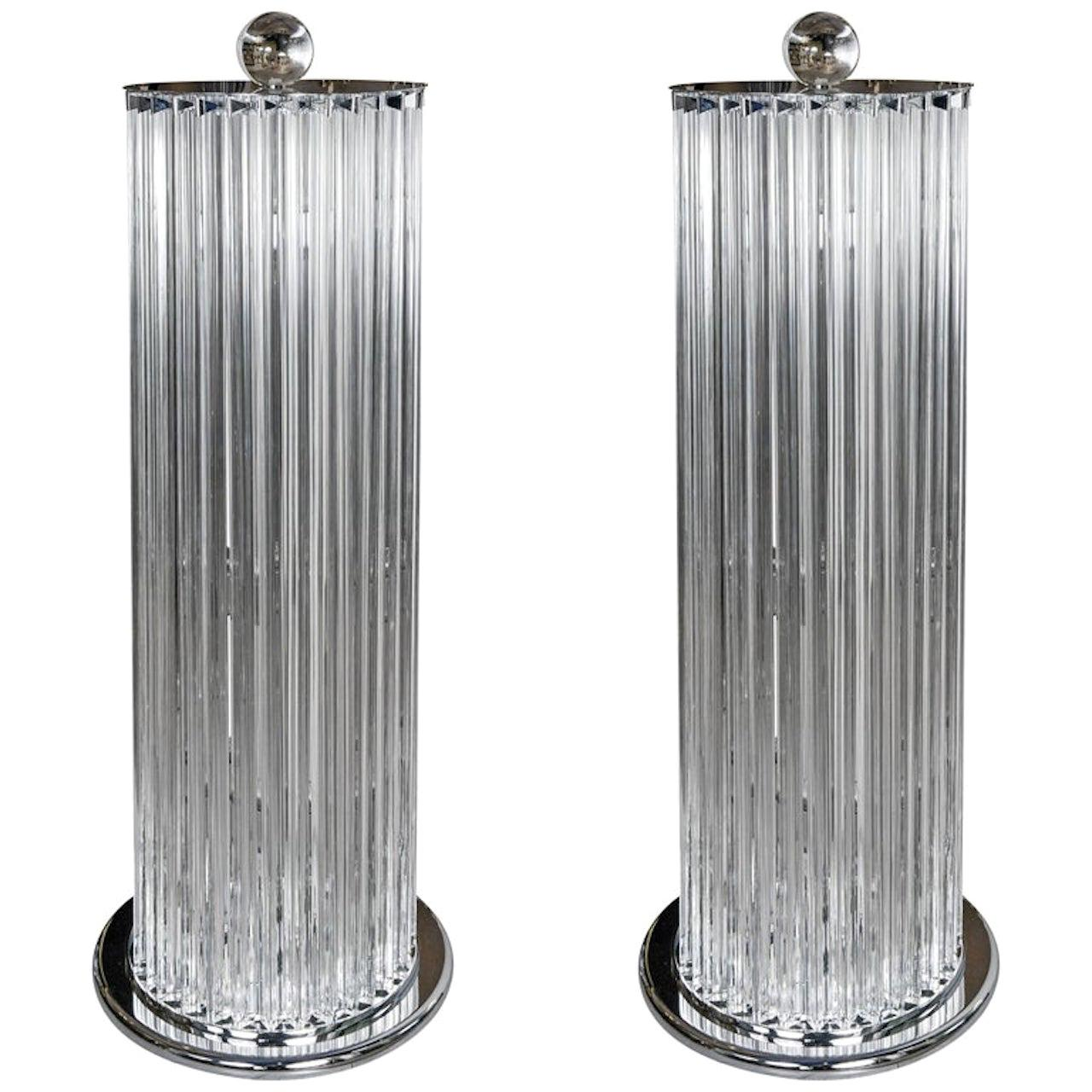 Pair of Floor Lamps in Murano Glass in the style of Venini, Circa 1990