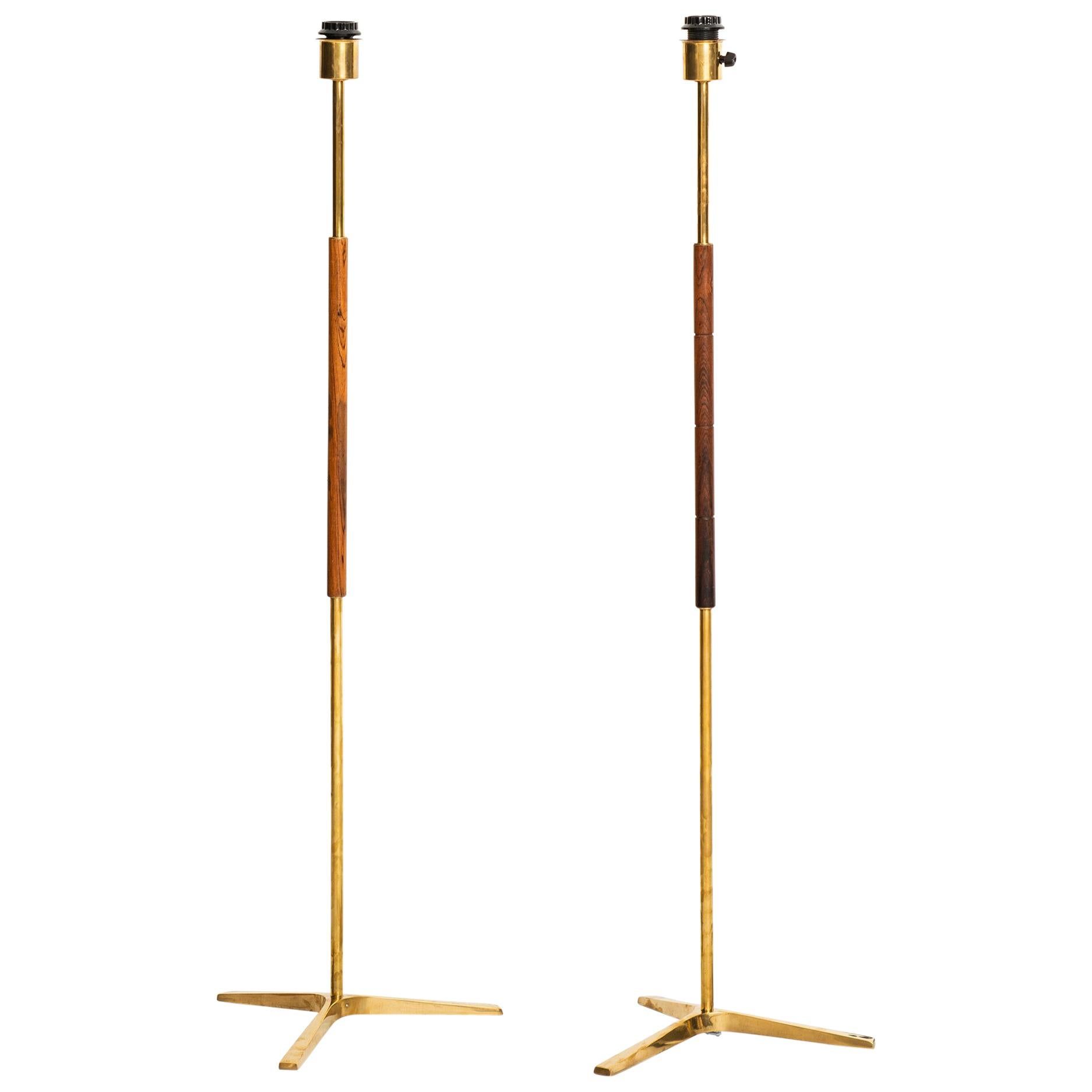 Pair of Floor Lamps in Rosewood and Brass Produced in Denmark