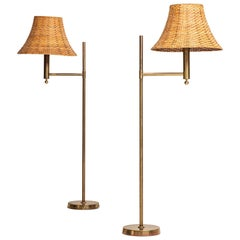 Pair of Floor Lamps Model G-018 in Brass by Bergbom in Sweden