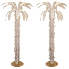 "Pair of Floor Lamps ""Palm"" Murano Glass Opalescent, circa 1970, Italy"