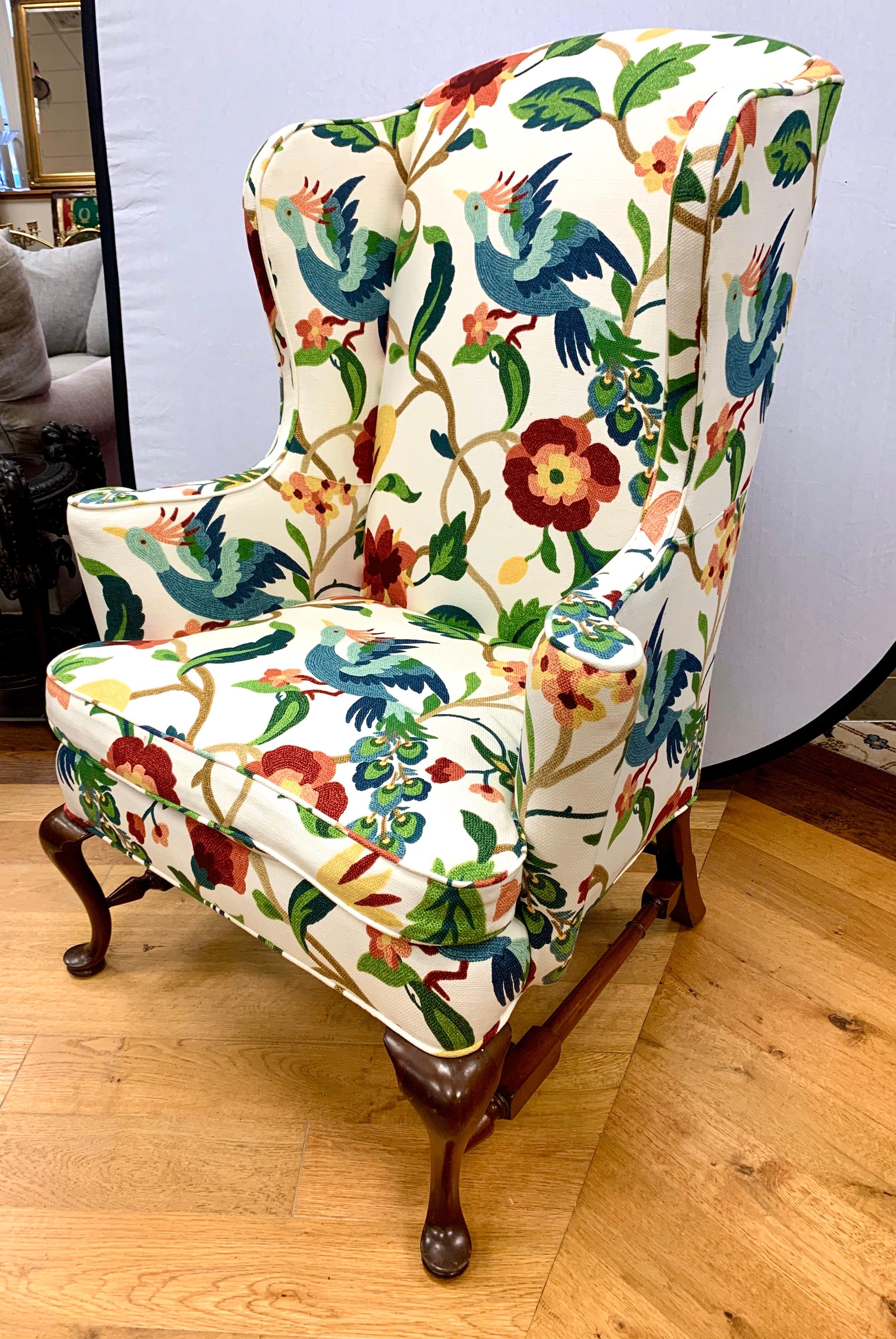 Pair Of Floral Crewelwork Print Mahogany Wingbacks Wingback