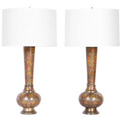 Pair of Floral Enamel Brass Table Lamps