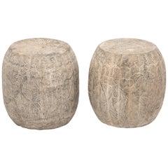 Pair of Floral Etched Melon Shape Limestone Drums