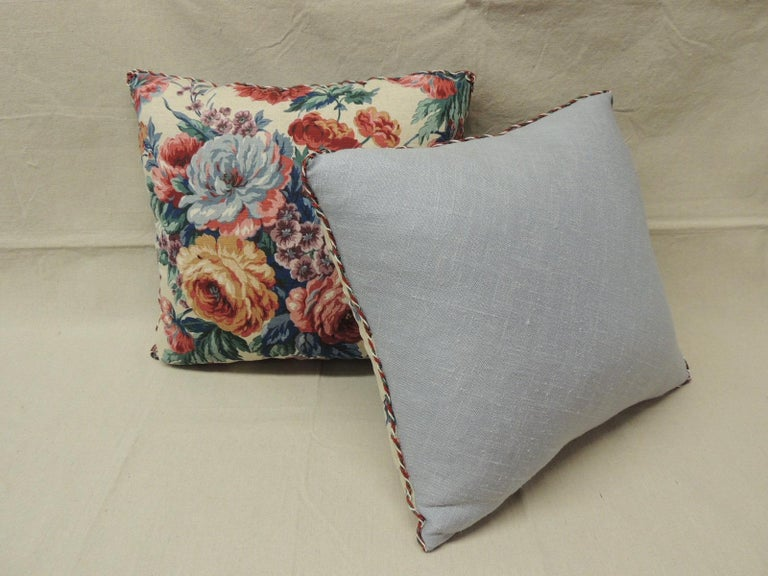Country Pair of Floral Orange and Red Cabbage Roses Linen Decorative Pillows For Sale