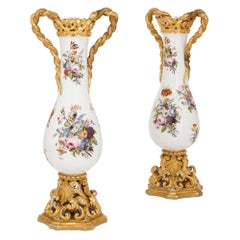 Pair of Floral Porcelain Vases in the Style of Jacob Petit