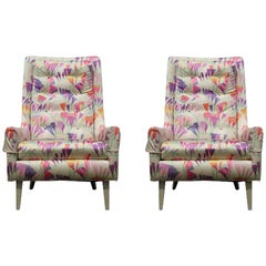 Pair of Floral Printed Mid-Century Modern High Back Lounge Chairs