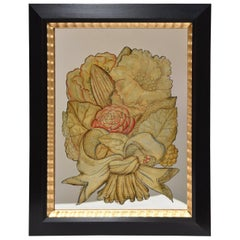 Pair of Floral W. E. Fager Reverse Mirror Paintings