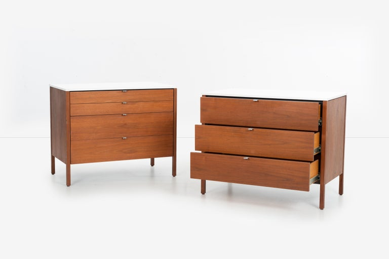 Aluminum Pair of Florence Knoll 4-Drawer Dressers For Sale