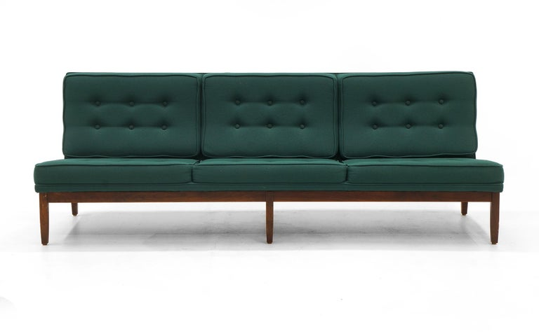 Mid-Century Modern Pair of Florence Knoll Armless Sofas, Walnut Frames and Original Green Fabric For Sale