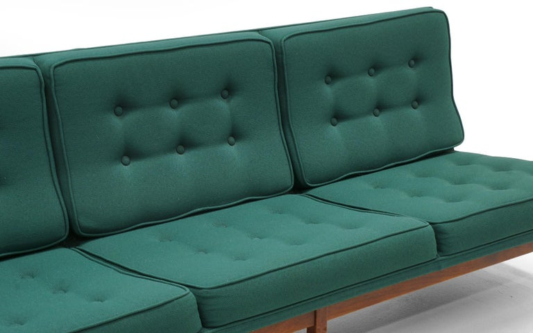 American Pair of Florence Knoll Armless Sofas, Walnut Frames and Original Green Fabric For Sale