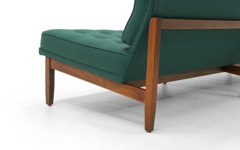 Upholstery Pair of Florence Knoll Armless Sofas, Walnut Frames and Original Green Fabric For Sale