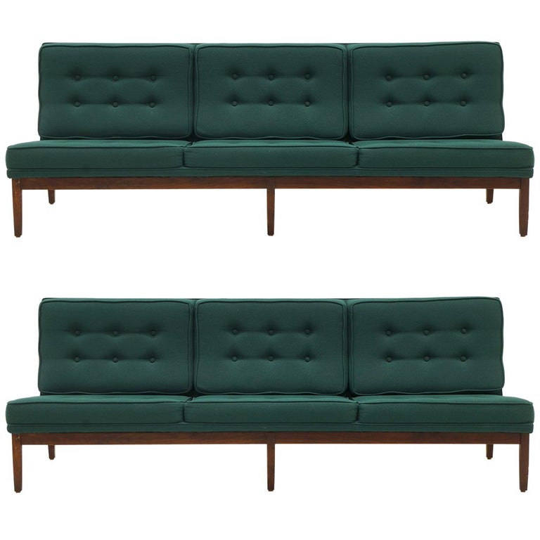 Pair of Florence Knoll Armless Sofas, Walnut Frames and Original Green Fabric For Sale