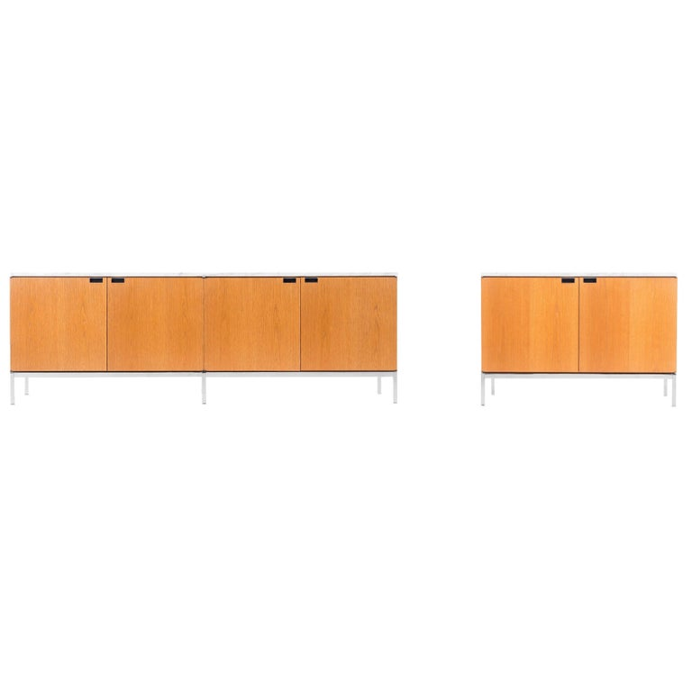 Pair of Florence Knoll Carrara Marble Credenzas