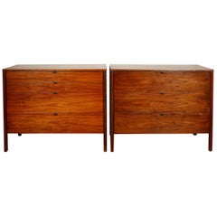 Pair of Florence Knoll Dressers in Walnut