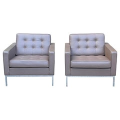 Pair of Florence Knoll Leather Armchairs
