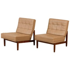 Pair of Florence Knoll Leather Lounge Chairs