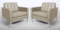 Pair of Florence Knoll Leather Lounge Chairs - Recent Production