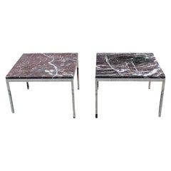 Pair of Florence Knoll Steel and Marble End Tables for Knoll