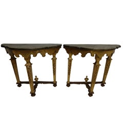 Pair of Florentine Style Carved and Painted Consoles, Italian, 18th Century