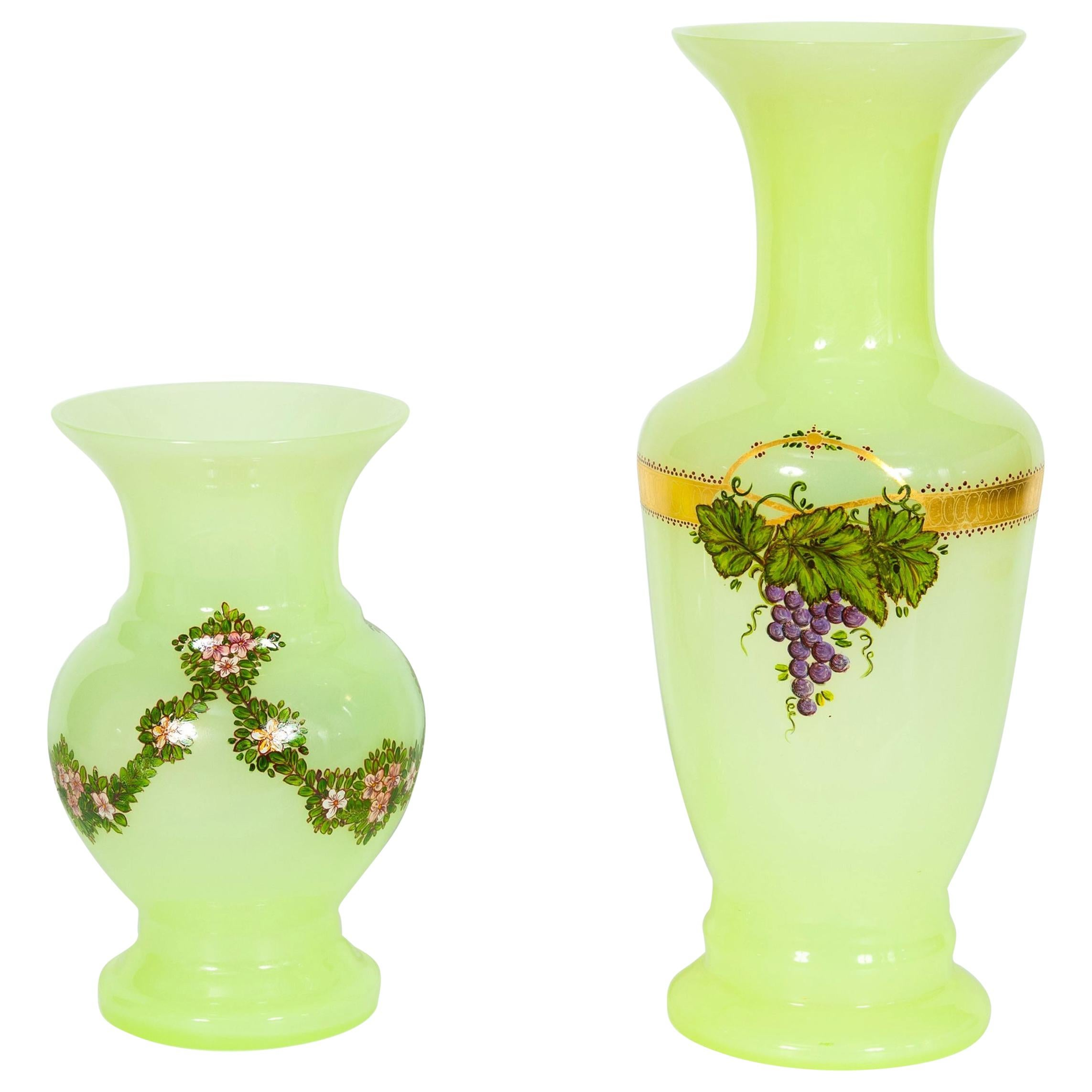 Pair of Fluorescent Yellow Murano Glass Vases Hand Painted and Decorated, 1990s