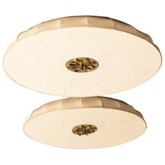 Pair of Flush Mount Ceiling Lamps Produced in Sweden