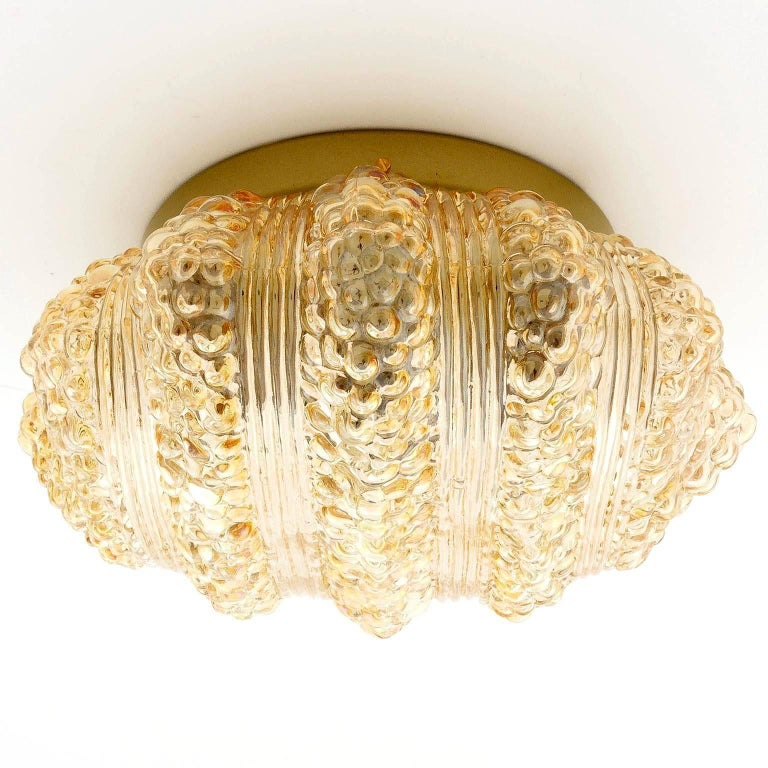 Painted Pair of Flush Mount Lights or Sconces, Amber Tone Bubble Glass, 1970 For Sale